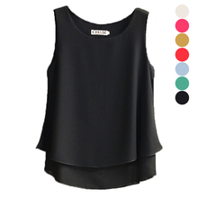 Fashion Women Summer Chiffon Blouse Sleeveless Casual Shirt O-neck Double Layers Vest Tops Plus Size H9