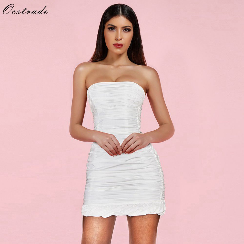Ocstrade New Arrival 2019 Women White Cotton Ruched Strapless Sexy Party Night Club Bodycon Dress