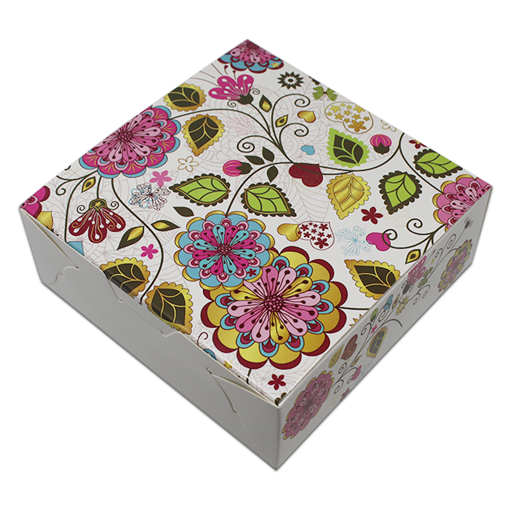 20Pcs 13.5*13.5*5cm Colorful Floral Printed Kraft Paper White Gifts Package Box Square Festival DIY Crafts Paperbard Packing Box