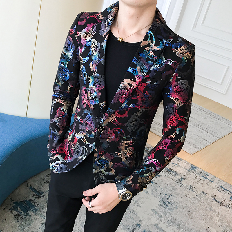 High-end Fashion Personality Floral Suit Jacket Men, Trend Nightclub Hairdresser Slim Printed Suit, Fashion Night Stage Costumes
