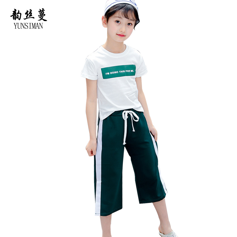Baby Girls Clothes Set Summer 2018 Kids Teens Green Letter Print Thin T Shirt Pants Suit for Children Girls 4 6 8 10 12 Y 5C41