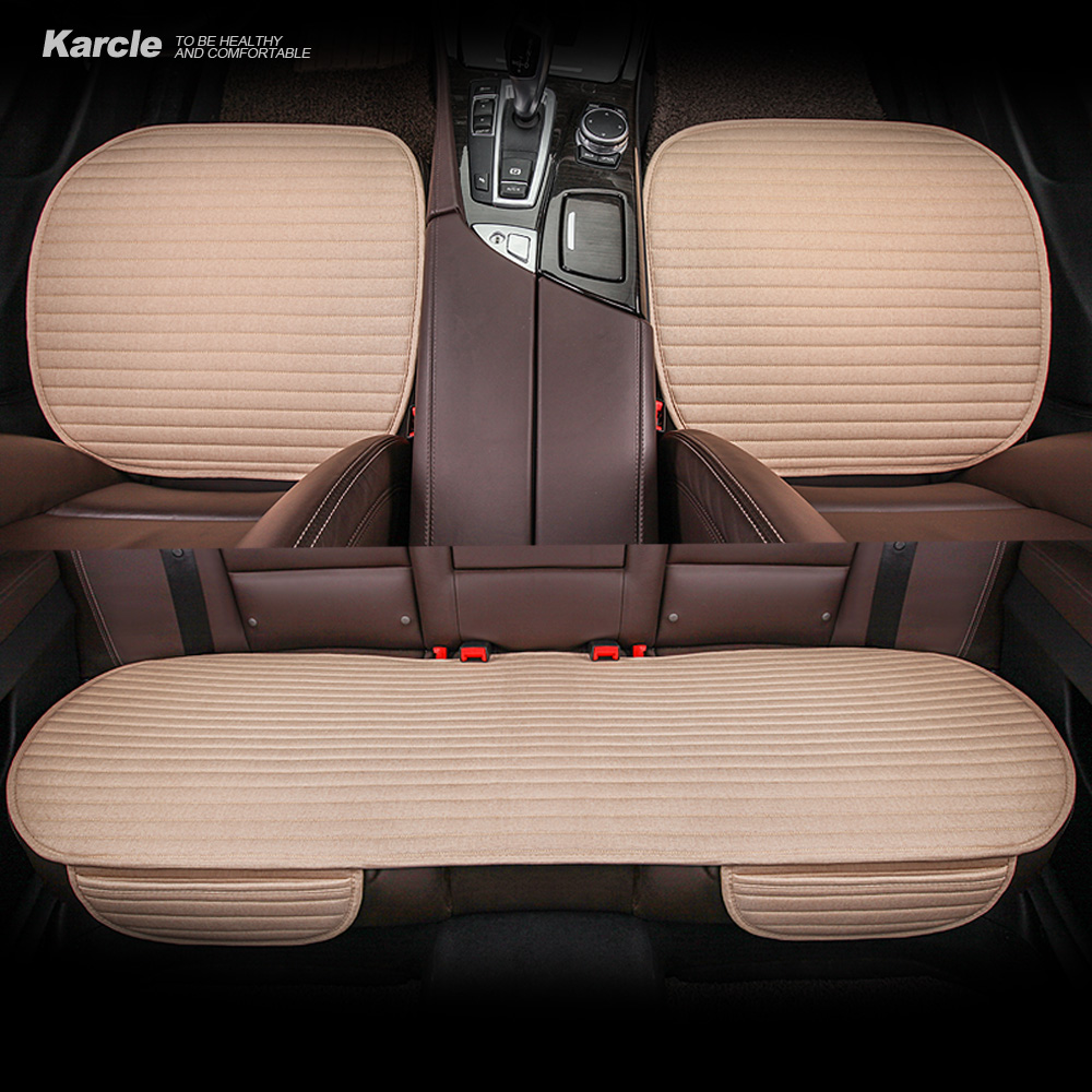 Karcle Linen Car Seat Cvoers Universal Breathable Seat Cushion 4 Seasons Common Cool Summer Car Styling