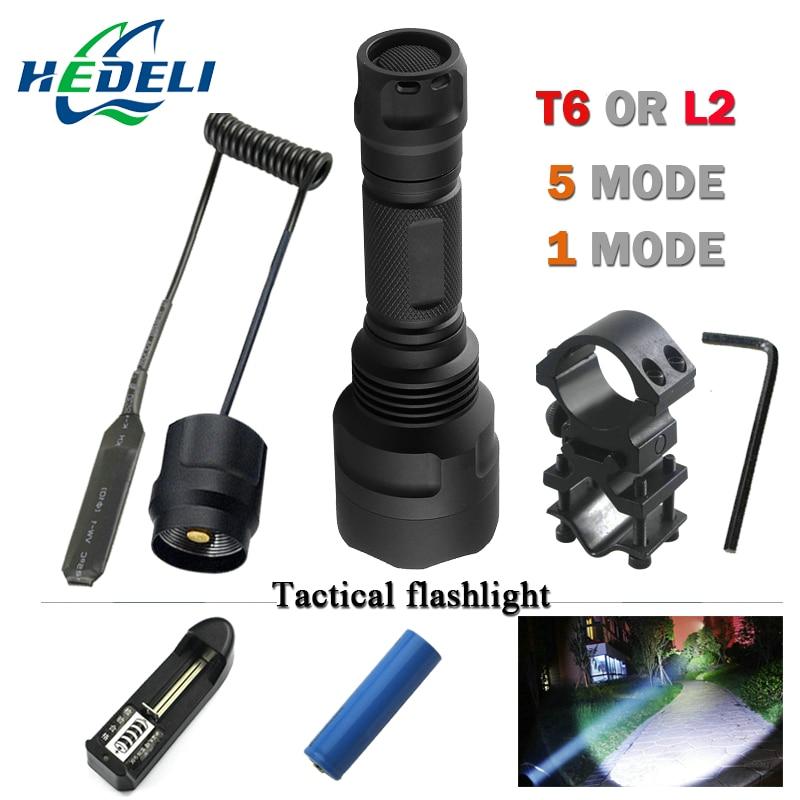 1 o 5 modalità led L2 Tattico della torcia elettrica del cree XML T6 XM-L2 torcia led Impermeabile luce del flash mode18650 batteria Ricaricabile
