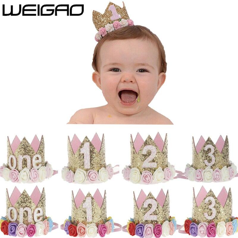 WEIGAO 1 Uds. 1 2 3 gorros de cumpleaños corona de flores 1 er cumpleaños sombrero bebé recién nacido diadema de cumpleaños 1 año decoraciones para fiesta de cumpleaños