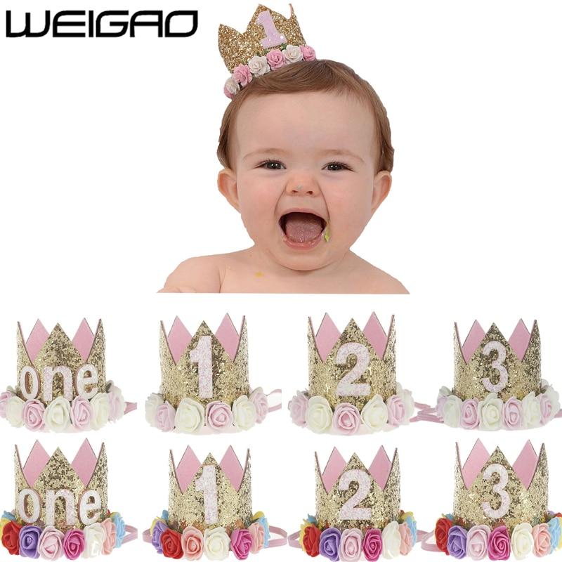 WEIGAO 1pcs 1 2 3 Birthday Caps Flower Crown 1st Birthday Hat Newborn Baby Birthday Headband 1 Year Birthday Party Decorations