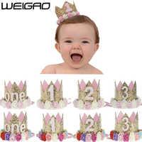 WEIGAO, 1 pieza, 2, 3 gorros de cumpleaños, corona de flores, 1 er cumpleaños, sombrero para bebé recién nacido, diadema de 1 año, decoraciones para fiesta de cumpleaños