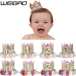 WEIGAO 1pcs 1 2 3 Birthday Caps Flower Crown 1st Birthday Hat Newborn Baby Birthday Headband 1 Year Birthday Party Decorations(China)
