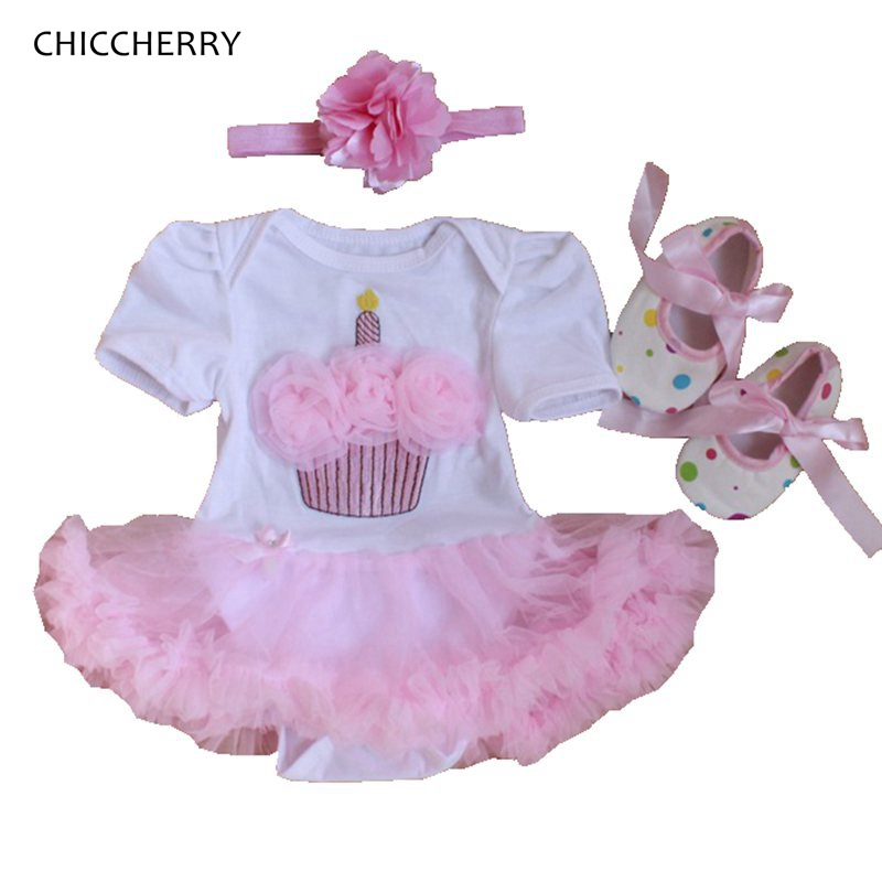 Cupcake Toddler Birthday Outfits Lace Romper Dress Crib Shoes Headband 3PCS Baby Girl Clothing Sets Kids Clothes Infant Clothing