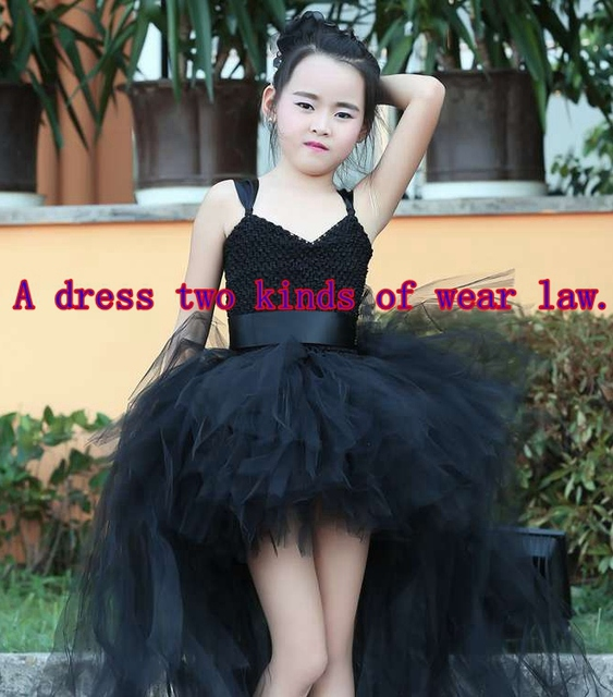b672a9033af4 Train Tail Girls Black Tutu Dress Baby Bridesmaid Flower Girl ...