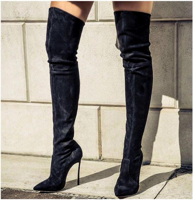 2017 winter autumn suede leather woman long boots metal thin heel pointed toe design female over-the-knee boots elastic boot цена 2017