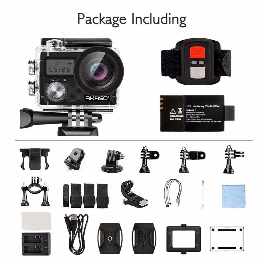 AKASO Brave 4 K 20MP Wifi caméra d'action Ultra HD avec EIS 30 m sous-marine étanche à distance sport caméscope + accessoires casque - 5