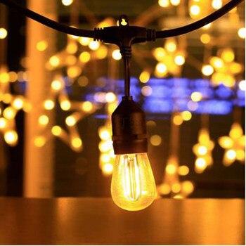 Edison Führte Glühbirne | 7M 12LED Im Freien Wasserdichte LED Lichterketten E26 E27 S14 2W LED Retro Edison Glühlampe Straße Garten Terrasse Urlaub Beleuchtung