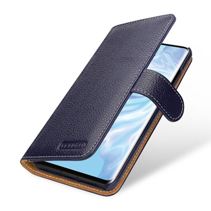 Multi-fonction Portefeuille étui pour Huawei P30 avec Fentes Pour Cartes De Luxe En Cuir Véritable Peau de Téléphone pour Huawei P30 Pro P30 Lite - 2