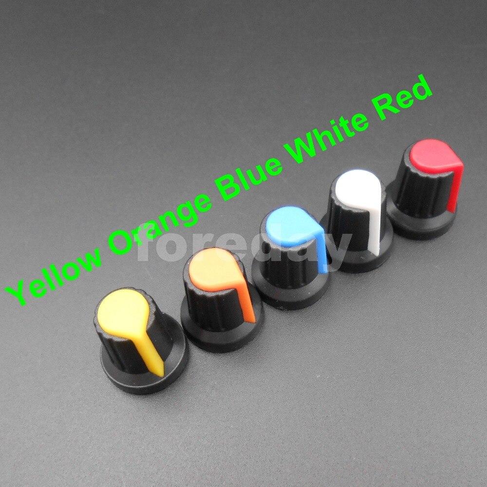 1000PCS X NEW 6mm WH148 potentiometer AG2 Plastic knob cap M6 Plum Handle for amplifier Yellow