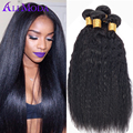 Ali Moda Malaysian Virgin Hair Kinky Straight Hair Weave 4 Bundles 100% Yaki Human Hair Extension 6A Malaysian Straight Hair