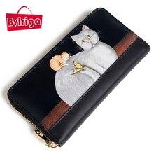 BVLRIGA Frauen 100% echtes leder-geldbörse mit hoher qualität berühmte marken lange geldbörsen tasche mode katze damen brieftaschen hohe handtasche