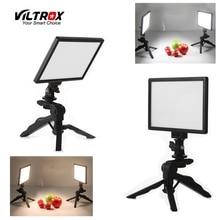 2x VILTROX L116T วิดีโอสตูดิโอไฟ LED กล้อง LCD Bi สีหรี่แสงได้ + 2x พับมือถือขาตั้งกล้อง + 2x AC Power Adapter