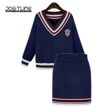 JOGTUME Two Piece Set Top and Skirt 2017 Autumn Trendy Knit Sweater Coat + Skirt Shorts Sweet Women's Set Striped 2 Piece Suit