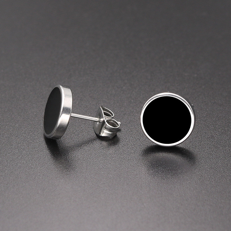 SHUANGR New Black Round Stud Earrings Unique Design Fashion Jewelry Romantic Vacation Gift Earrings for Women Men Jewelry