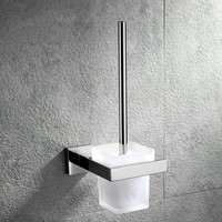 Brushed stainless steel Toilet brush holder with glass cup High quality Bathroom hardware accessories