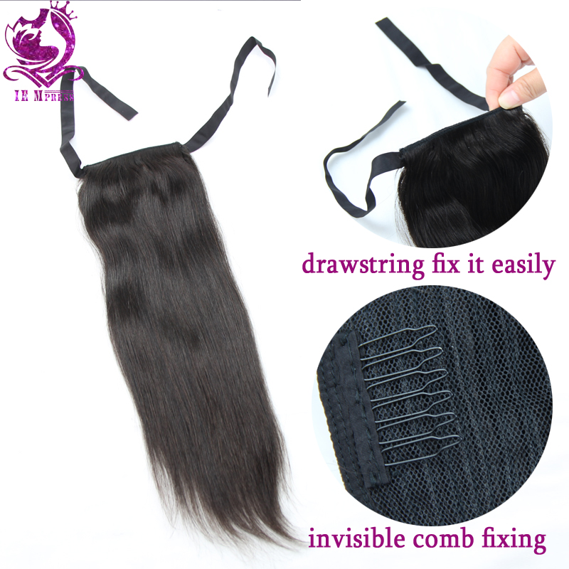 1b human hair drawstring ponytail extensions remy hair straight 1b human hair drawstring ponytail extensions remy hair straight virgin malaysian ponytails hair 8 30 inch comb lace tie feature in ponytails from hair pmusecretfo Image collections