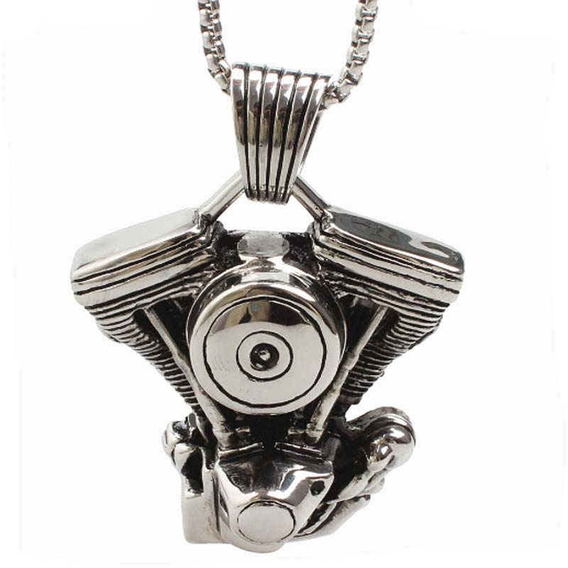 Engine Necklaces Pendant Titanium For Men Stainless Steel Jewelry Hyperbole Punk Personality Fashion Male Graduation Gifts 2018