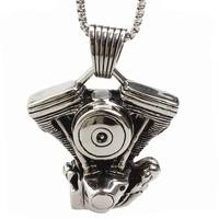 Engine Pendant Titanium Necklace For Men Stainless Steel Jewelry Punk Personality Fashion Male Jewelry