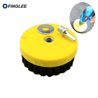 Dia 110mm Black Drill Power Scrub Clean Brush For Leather Plastic Wooden Furniture Car Interiors Cleaning