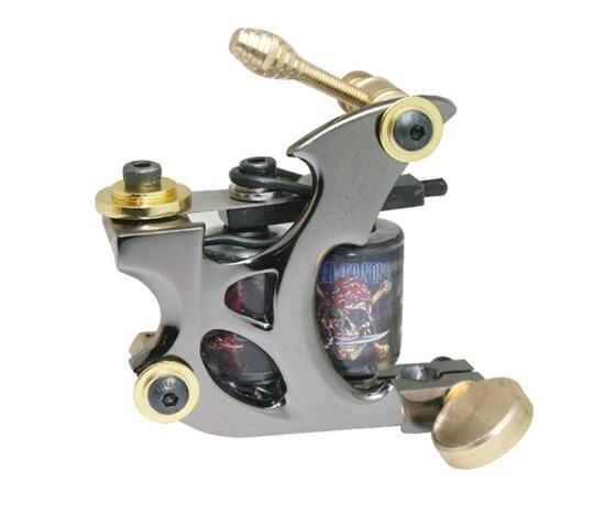 Profesional mano tatuaje 10 bobinas de abrigo hierro fundido del marco de encargo del tatuaje del arma para Liner Shader HTM-6213-3C