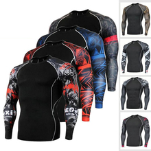 лучшая цена Fitness MMA Boxing Shirt Men Rashguard mma Bjj Jiu jitsu Long Sleeve T Shirt Muay thai Men Skull Print 3D Boxing Jerseys Tops