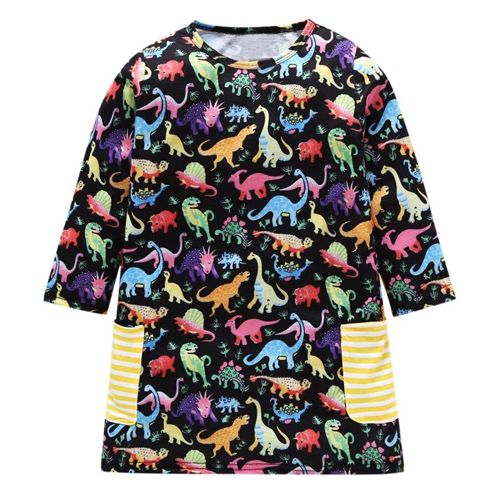Knowledgeable Szyadeou Toddler Children Baby Girls Long Sleeve Cartoon Dinosaur Print Dress Outfits Clothes Vestido Infantil 10 Mother & Kids