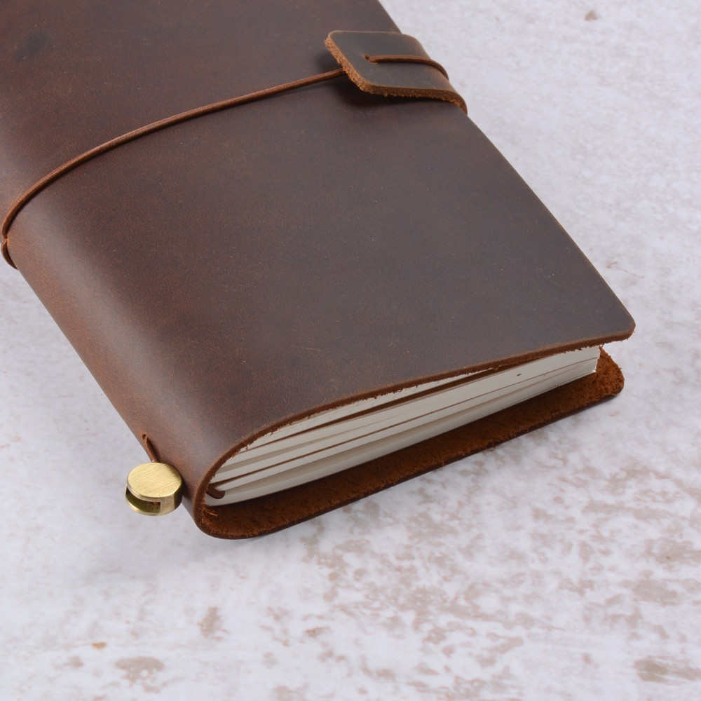 50 pieces / lot Portable 175x110mm Genuine Leather Notebook Handmade Vintage Cowhide Diary Journal Sketchbook Planner