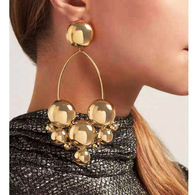 Hot 2018 New Gold color Round earrings for women Ball Pearl Geometric female drop earrings fashion jewellery