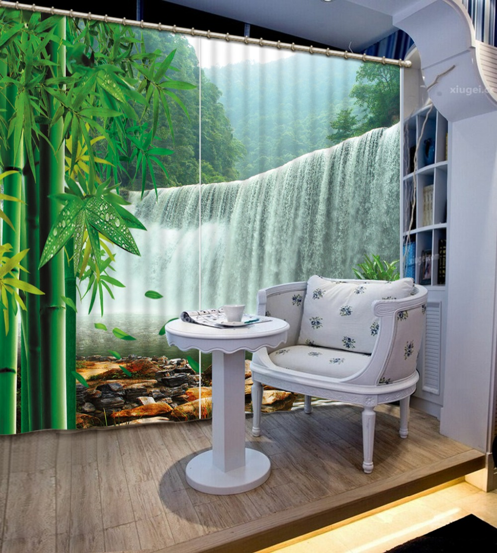 Waterfall Bamboo Landscape 3d Curtains For Living Room Bedroom Curtains Office Hotel Home Wall Tapestry High-precision Shade Waterfall Bamboo Landscape 3d Curtains For Living Room Bedroom Curtains Office Hotel Home Wall Tapestry High-precision Shade