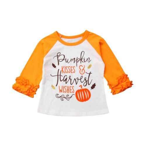 Рождественский Новый Лидер продаж для девочек-младенцев с тематикой Хэллоуина с длинными рукавами с аппликацией тыквы с оборками футболка верхняя одежда, наряд