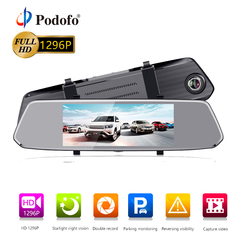Podofo 7 Car Mirror Video DVR Camera FHD 1080P Video Recorder Dual Lens Registrar Rearview Camera dvrs Dash cam Auto Parking французский для школьников 1 4 классы cdpc