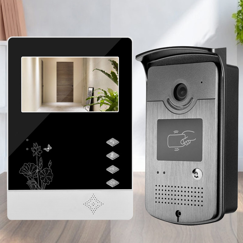 New style 4.3'' wired color video door phone intercom doorbell system monitor+ RFID IR night vision camera for villa/home/office brand new wired 7 inch color video door phone intercom doorbell system 1 monitor 1 waterproof outdoor camera in stock free ship
