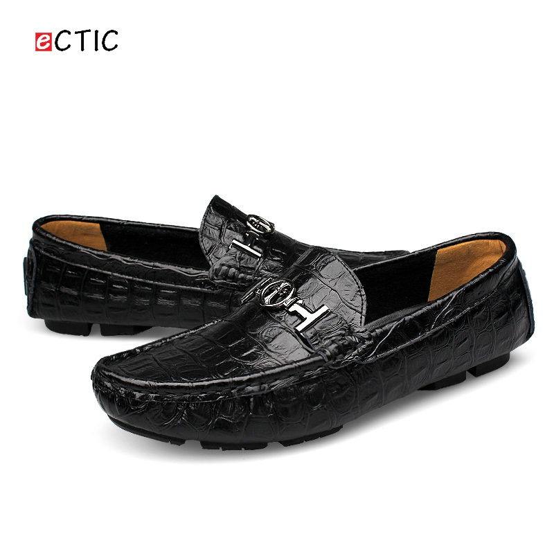 Luxury Brand Men Loafers Crocodile Skin Genuine Leather Men Driving Shoes Good Quality US Soft Comfortable Big Size 45 46 47 48