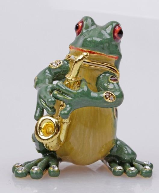 Gorgeous Frog Playing Saxophone Jewelled Trinket Box Jewelry Box