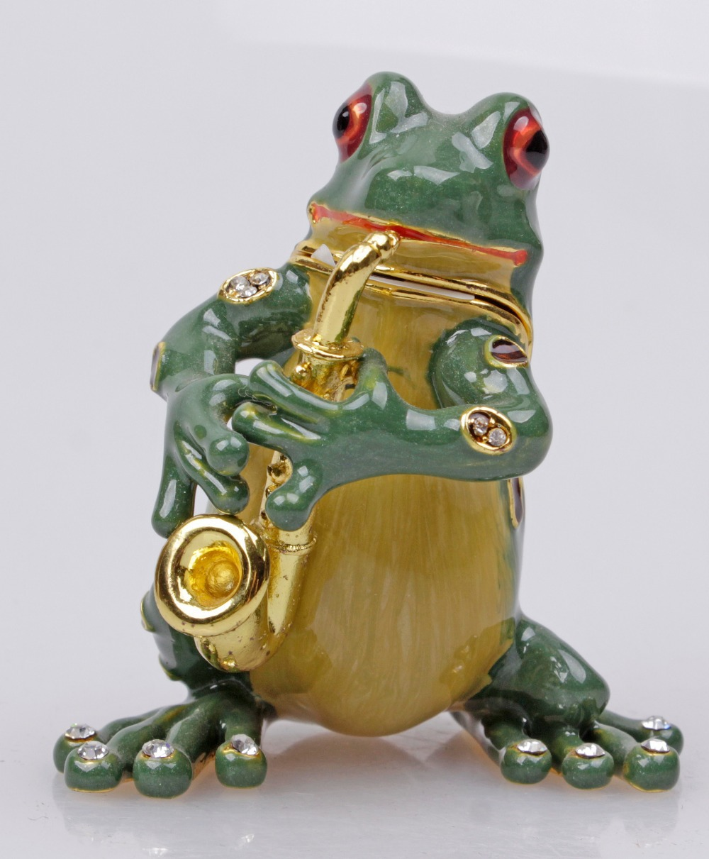 Gorgeous Frog Playing Saxophone Jewelled Trinket Box Jewelry Box with Inlaid Crystal, Pill Box Figurine