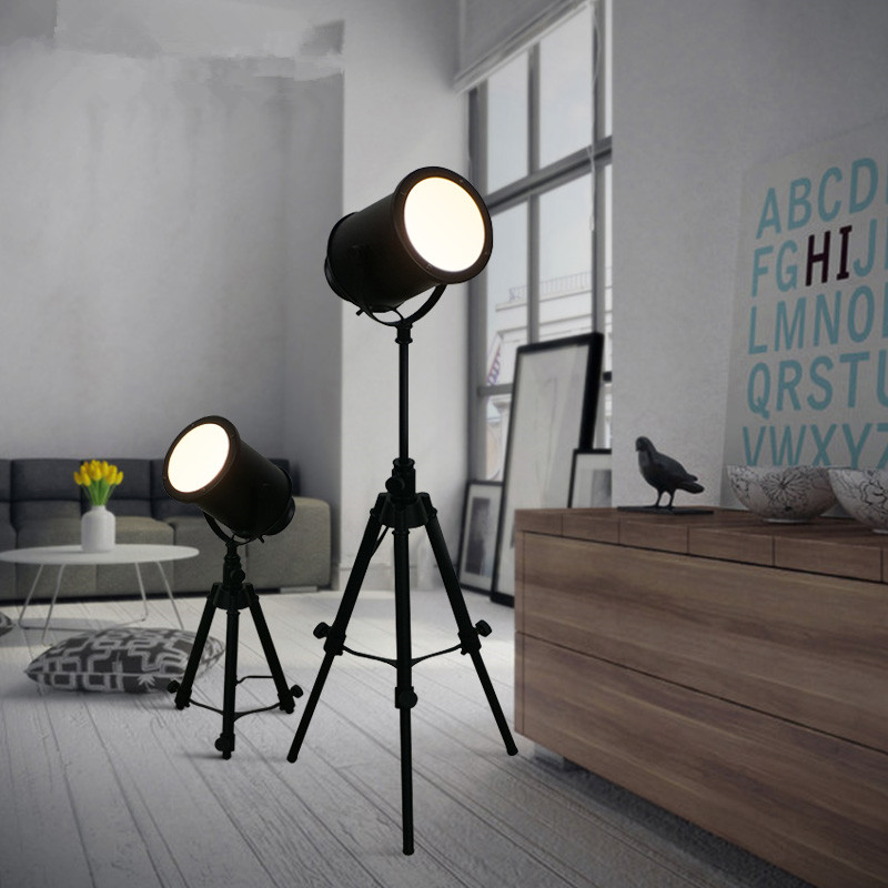 Vintage Loft Black Tripod Floor Lamp For Living Room Retro Industrial Free Lifting Standing Bedside