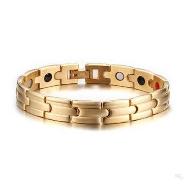 Men's Stainless Steel 11MM Health Bracelet Gold Titanium Steel Bangles wholesale for men - Free Shipping