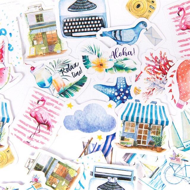 46 unids/caja Seaside vacaciones decoración de diario pegatinas Scrapbooking papelería pegatinas Scrapbooking DIY álbum de diario