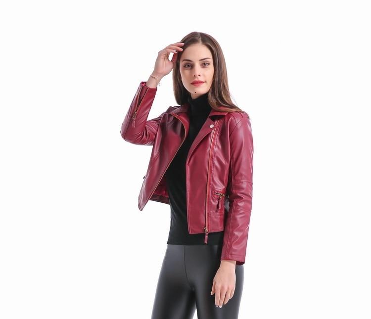 2018 Yeni Moda Kısın Yaka Kadın Deri Ceketler Ince PU Deri Motor - Bayan Giyimi - Fotoğraf 4