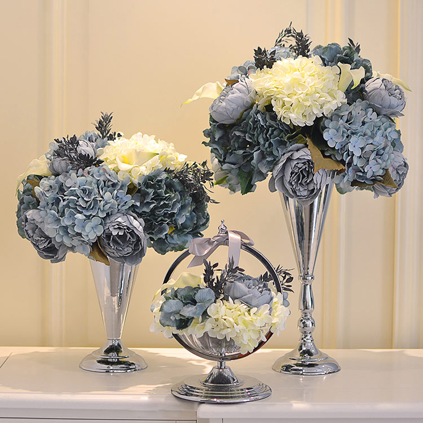 Luxury alloy crafts Vase with flowers American creative Wedding decor colorful tabletop Furnishing Articles New Home