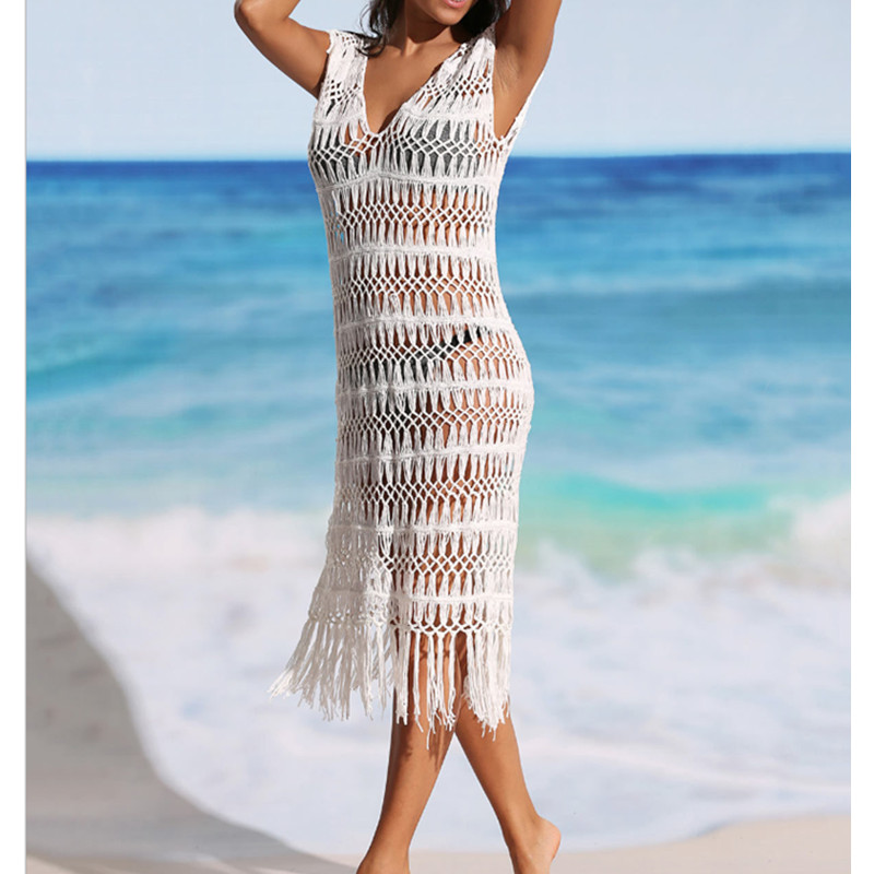 Cover Ups for Swimwear Women V-Neck Beach Dresses with Tassels Hollow Out Swimwear Vintage Crochet Bikini Swimsuit Coverups
