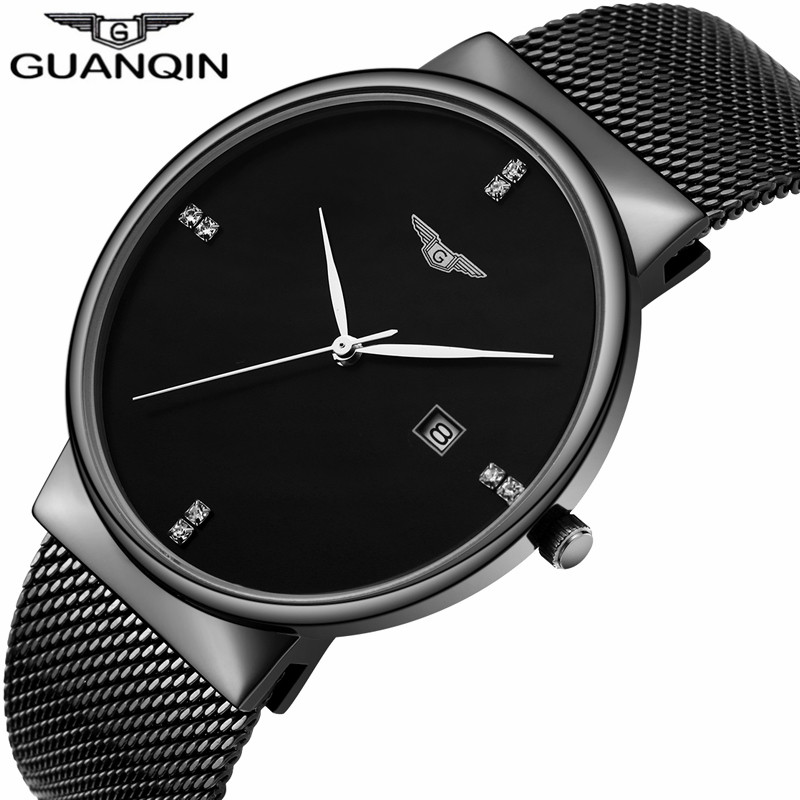 New GUANQIN Mens Watches Top Brand Luxury Mesh Band Quartz Watch Men Business Full Steel Waterproof Wristwatch relogio masculino rosra brand men luxury dress gold dial full steel band business watches new fashion male casual wristwatch free shipping