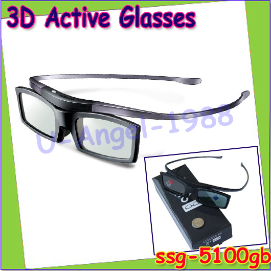 Free Shipping 2pcs/lot SSG-5100GB for SAMSUNG 3D TVs Active Shutter Glasses / Battery SSG-5100GB