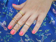 Unique adjustable Ring Set Punk style Gold Color Knuckle Rings for women mid Finger Ring Set