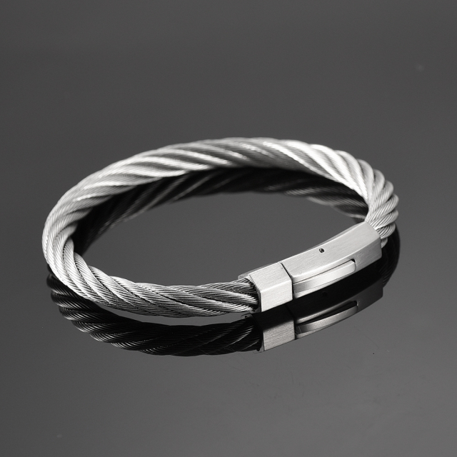 drill bracelet bangles silver gold cuff top bangle item quality women cable twisted steel stainless